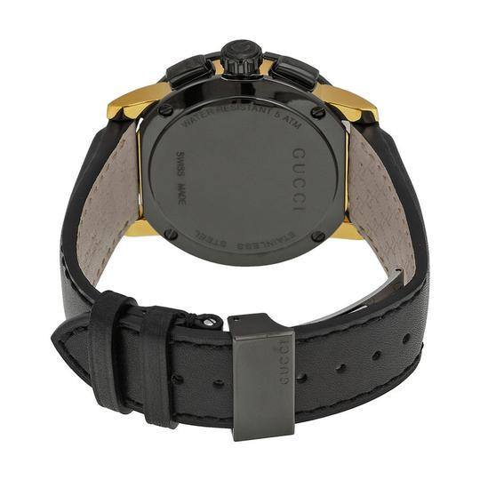 Gucci Gucci Mens Watch Black Dial and Leater Strap with Gold Tone Hands