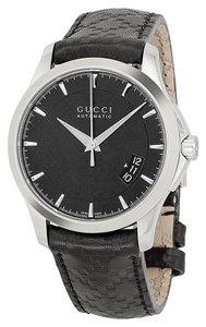 Gucci Gucci Mens Watch Classic Elegant Black Leather Strap Designer Watch