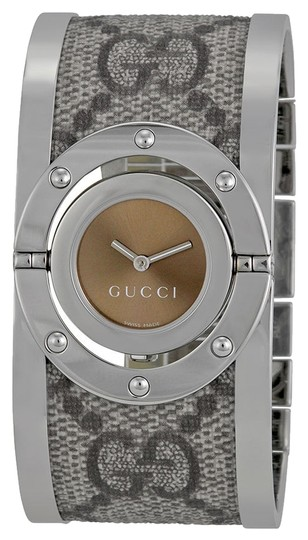 Preload https://item2.tradesy.com/images/gucci-gucci-ladies-watch-logo-satin-over-stainless-steel-cuff-bracelet-watch-4946701-0-0.jpg?width=440&height=440