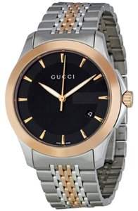 Gucci Gucci Mens Dress Watch Black Dial Silver Gold and Rose Gold Designer Watch