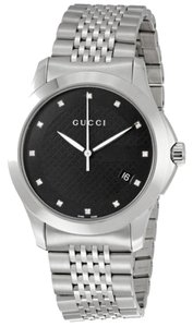 Gucci Gucci Mens Watch Black Dial Silver Tone Stainless Steel Casual Designer Watch