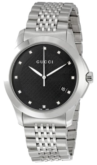 Gucci Black Dial Silver Tone Stainless Steel Casual Designer Watch