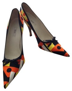 Prada Silk Color-blocking Orange, white, yellow & black print Pumps