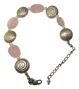 Sajen Beautiful Sajen Sterling, Pink Quartz and Fresh Water Pearl Bracelet