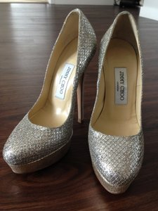 Jimmy Choo Alex Champagne Glitter Fabric Platform Pumps Wedding Shoes