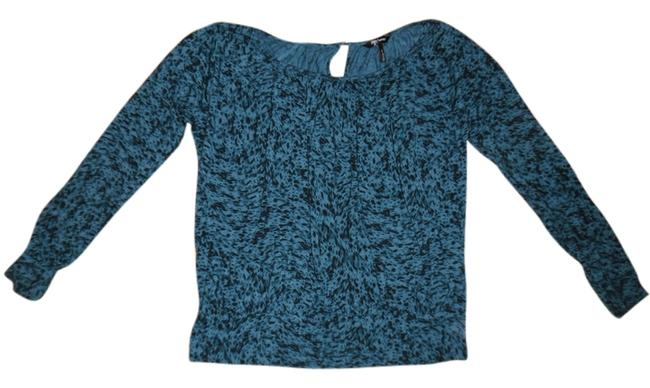 Daisy Fuentes Paint Splatter Slouchy Oversized Top Dark Blue, Black
