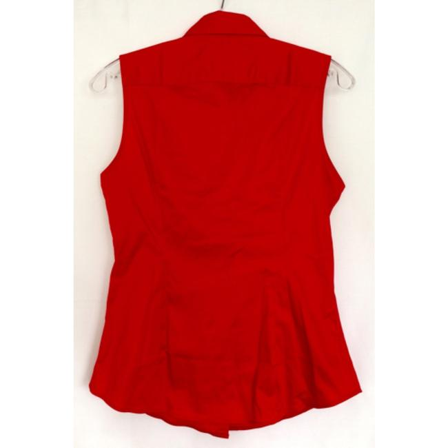 Banana Republic Sleeveless Fitted Fitted Button Down Shirt Red