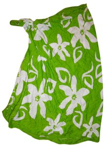 Casual Movements Green White Hawaiian Floral Rayon Bikini Wrap Sarong