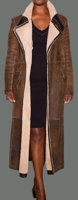 Donna Karan Shearling Leather Trench Coat