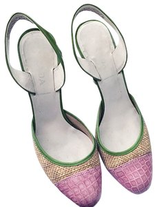 Prada Multicolored Pink and Green Sandals
