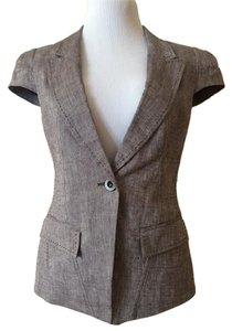 bebe Linen Blend Cap Sleeve Brown Blazer