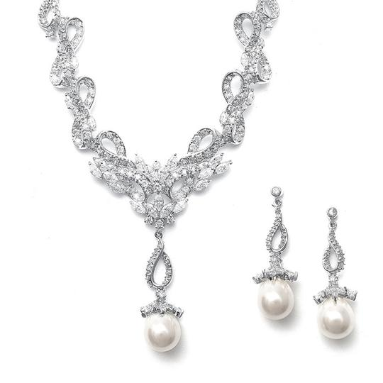 Soft Cream Vintage Cz Pave Ivory Pearl Ribbons Necklace Jewelry Set