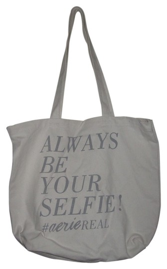 Aerie Always Be Your Self Canvas Cotton Tote in White