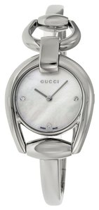 Gucci Diamonds Mother of Pearl Dial Silvertone Designer Watch