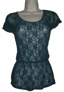 Kirra Womens Lace Shirt Medium Top Teal Blue