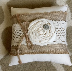 Tan Burlap White Beige Ring Bearer Pillow