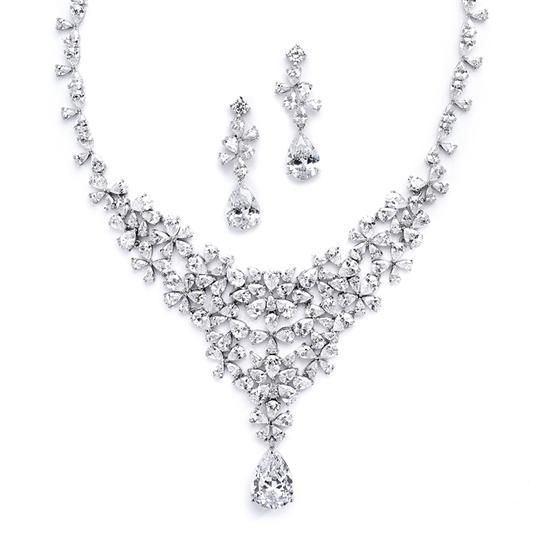Clear Opulent Statement Aaa Cz Necklace and Earring Set Jewelry Sets