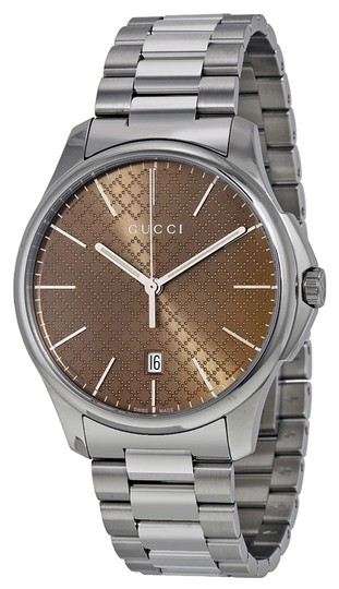 Gucci Gucci Mens Brown Dial Silver Tone Stainless Steel Designer Watch