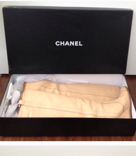 Chanel Leather Wedge Beige Boots
