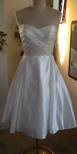 White Silk Charmeuse Tea Length Strapless Formal Wedding Dress Size 6 (S)