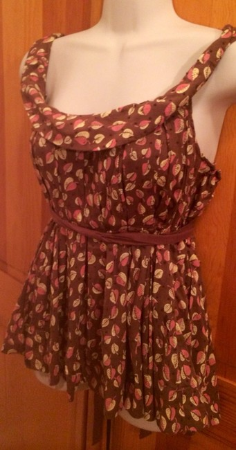 Anthropologie Top Brown with Pink/yellow Flowers