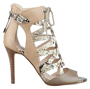 Guess Beige Leather Heels Python Laceup Nude Sandals