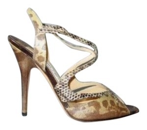 Jimmy Choo Lizard Natural Sandals