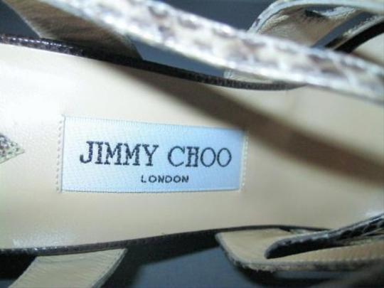 Jimmy Choo Lizard Strappy Natural Sandals