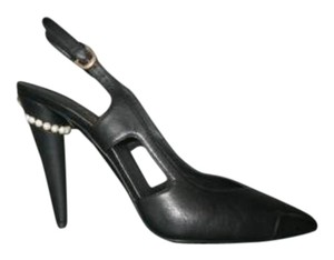 Chanel Pearl Heel Black Pumps