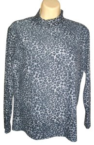 Animal Print Stand Up Collar Sweater