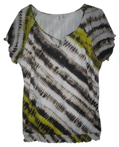 1 Madison Womens Black Yellow White Top Multicolored