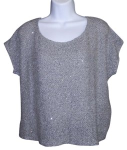 Ella Moss Sequin Sparkle Holiday Top Gray