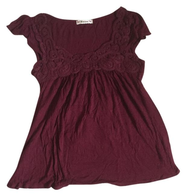 Preload https://item3.tradesy.com/images/forever-21-maroon-with-lace-neckline-and-tie-back-blouse-size-4-s-4950127-0-0.jpg?width=400&height=650