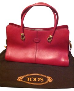 Tod's Made In Italy Leather Structured Pristine Condition Satchel in Red