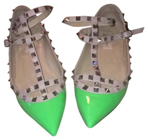 Valentino Green Rock-Stud Caged Flats