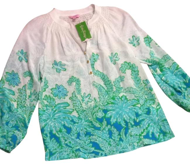 Lilly Pulitzer Top Palm Party Engineered Resort White