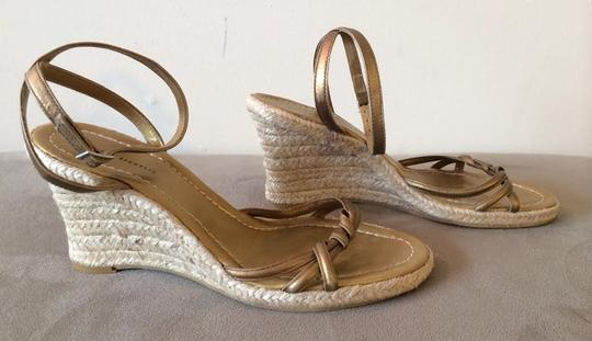 Banana Republic Leather Espadrille Wedge Muted Gold Sandals