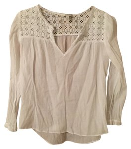 J.Crew Shirt Gauze Peasant Top White