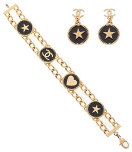 Chanel Chanel Set of Two; Black & Gold Enamel Earrings & Bracelet