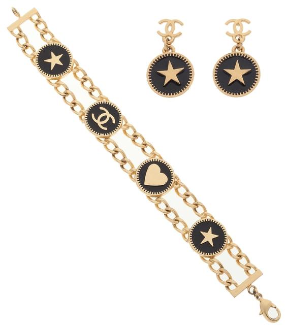 Item - Gold/Black Set Of Two: & Enamel Earrings Bracelet