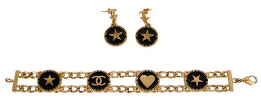 Chanel Chanel Set of Two: Black & Gold Enamel Earrings & Bracelet