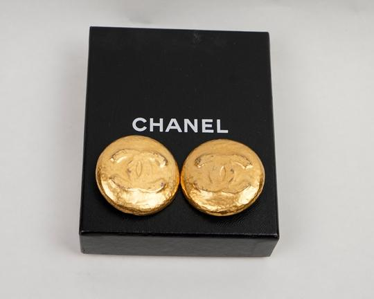 Chanel Chanel Gold Foil Round CC Earrings