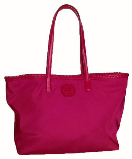 Tory Burch Marion Nylon Shoulder Tote in Carnation Red
