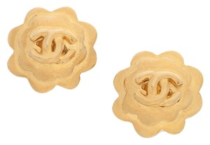 Chanel Chanel Gold Camellia Earrings with CC Detail