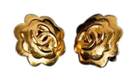 Chanel Chanel Gold Camellia Earrings with CC Detail Image 0