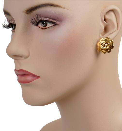Chanel Chanel Gold Camellia Earrings with CC Detail Image 1