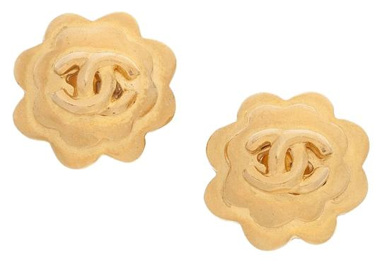 Chanel Chanel Gold Camellia Earrings with CC Detail Image 4