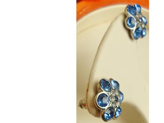 Other BN cubic zirconia, blue/clear stones, flower design, silver-tone hardware