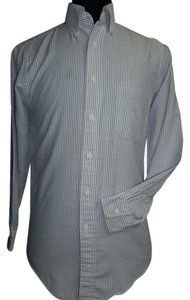 Lands' End Lands' End Long Sleeve Shirt, Oxford Blue/White Stripe, Size 14.5/32