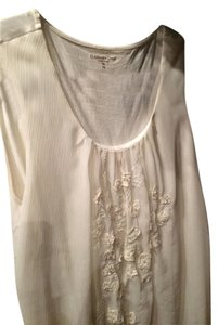 Coldwater Creek Chiffon Embroidered Top Ivory